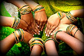 Colorful hands with bangles
