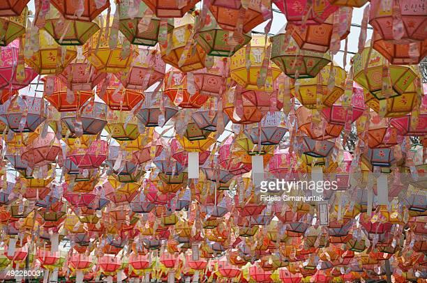 Colorful hanging lanterns.