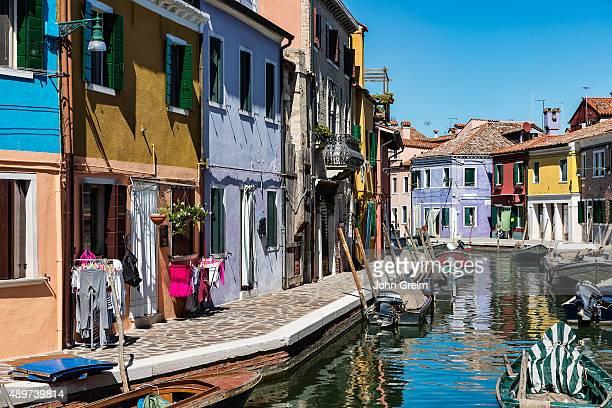 BURANO VENEZIA VENETO ITALY Colorful home facades in the Venetian fishing village island of Burano