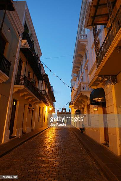 Colorful homes line the cobblestoned streets April 26 2004 in Old San Juan the original capital city of San Juan Puerto Rico The old city is a...