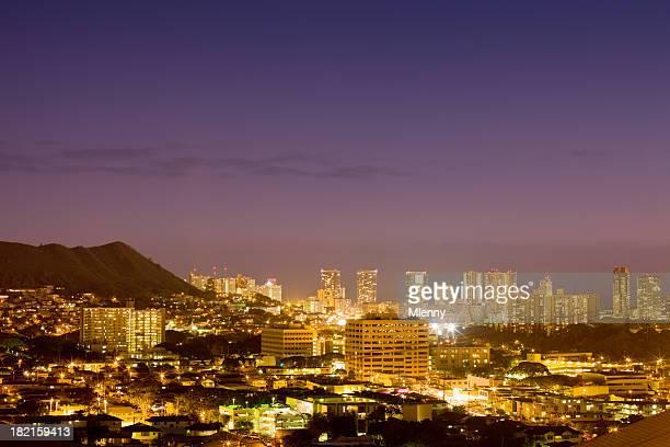 Colorful Honolulu Twilight Skyline Hawaii