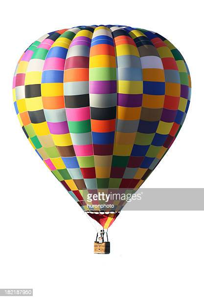 Colorful hot air balloon over a white background
