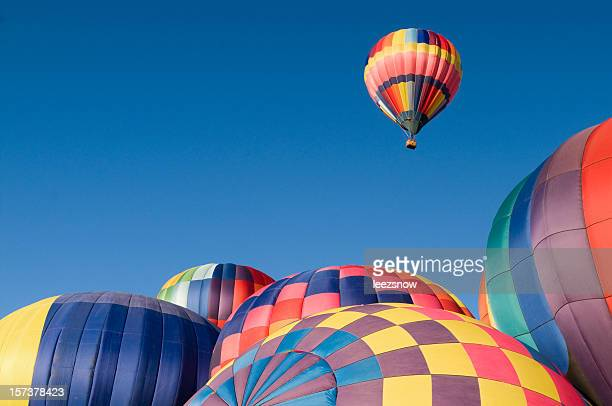 Colorful Hot Air Balloon Rising With Copy Space