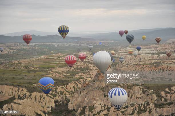 Colorful hot air balloons against sky