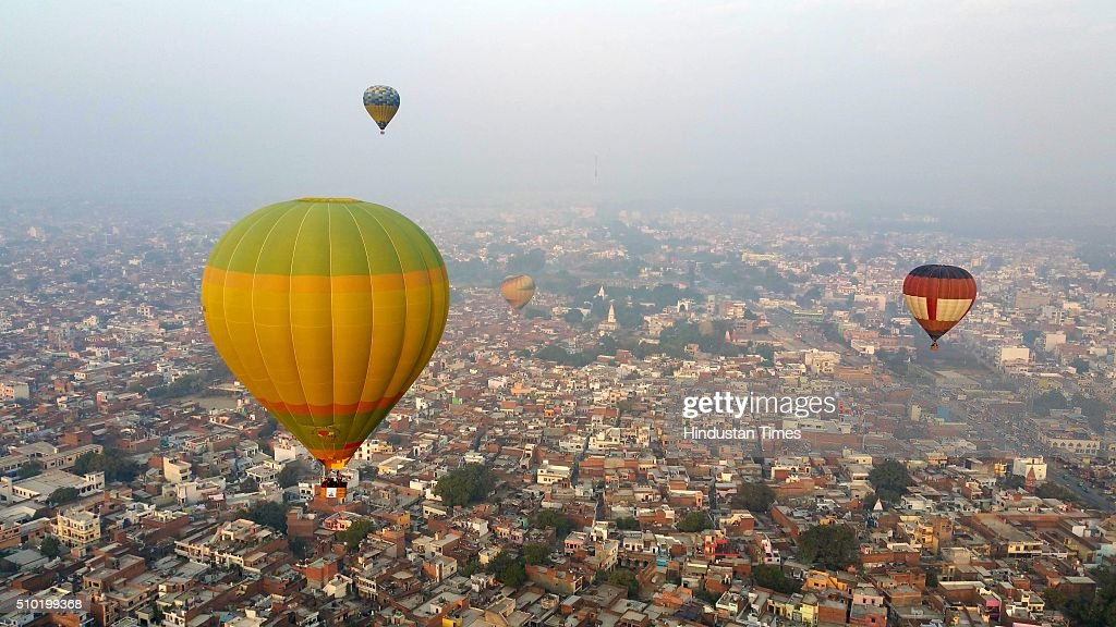 Colorful hot air balloons in the sky of Lucknow during a Balloon festival as a part of 'State Tourism Day' on Tourism day here at Janeshwar Mishra Park on February 14, 2016 in Lucknow, India. Uttar Pradesh Tourism Department has decided to celebrate its own 'State Tourism Day' annually on the Valentine's Day, February 14. The first 'State Tourism Day' will be celebrated in Lucknow but the venue will change to other cities in coming years, Navneet Sehgal, Principal Secretary Tourism added.