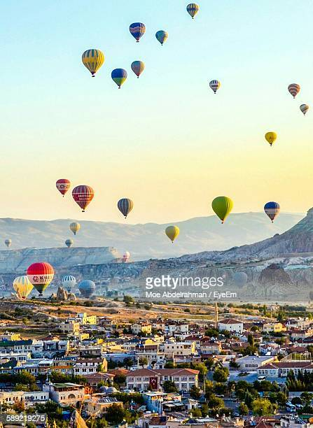 Colorful Hot Air Balloons Over Cappadocia Against Sky