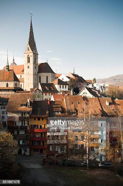 Colorful houses and church in Baden, Switzerland