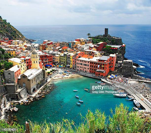 Colorful houses and port at Vernazza