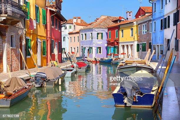 Colorful houses by the water canal at the island B