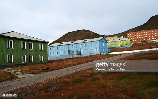 Colorful houses in Barentsburg