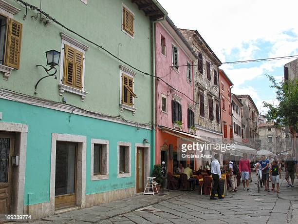 Colorful houses on a street in the center of Pula in Istria Croatia