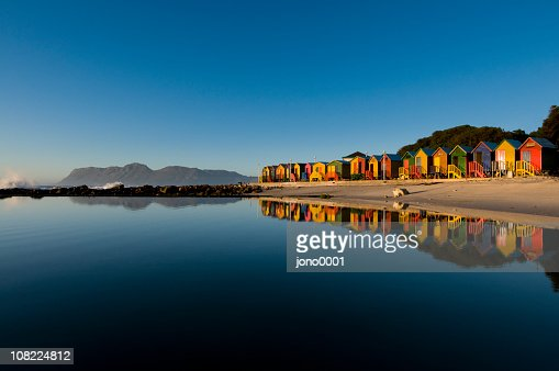 Colorful houses seaside landscape : Bildbanksbilder