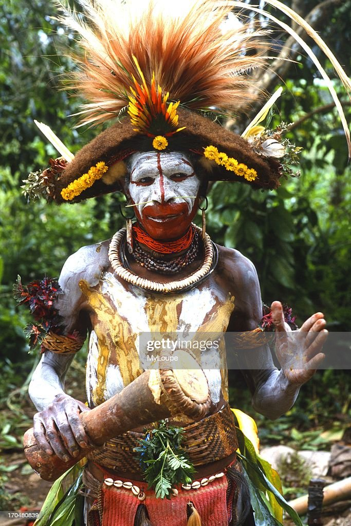 Colorful Huli Wigmen with painted Face In Papua New Guinea