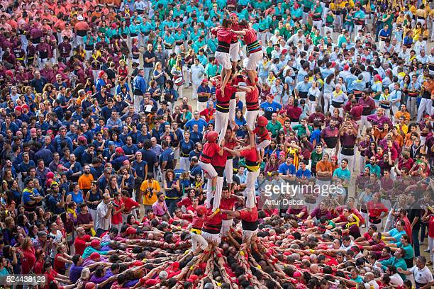 Colorful human towers 'Castellers' view from above