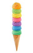 Colorful Ice Cream Cone tower isolated on white (excluding the shadow)