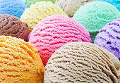 Ice cream scoops close-up - selective focus