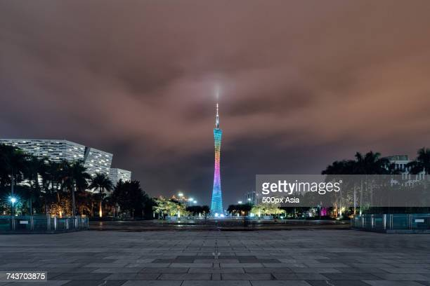 Colorful illuminated Canton Tower against cloudy night sky, Guangzhou, Guangdong, China