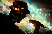 energetic singer. silhouette
