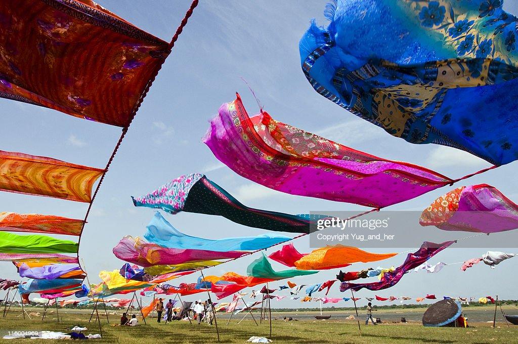 Colorful Indian saris drying