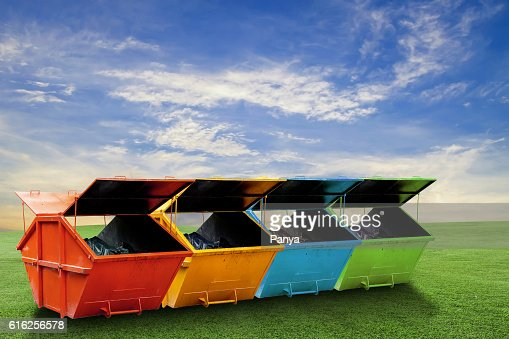 Colorful Industrial Waste Bin (dumpster) for municipal waste : Foto de stock