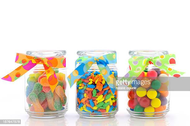 colorful jars of candies