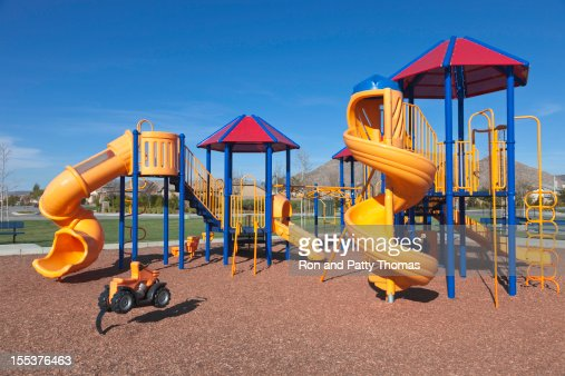 Colorful kids outdoor playground equipment with slides