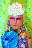 Colorful Kissy Cupcake Bizarre Drag Queen Man