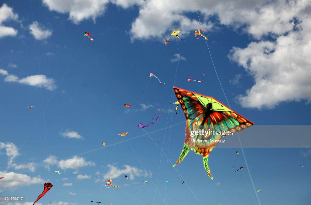 Colorful kites brighten up the skies over Bondi Beach during the annual Festival of the Winds kite flying festival on September 11, 2011 in Sydney, Australia.