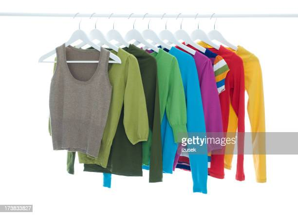 Colorful Knitted Tops Hanging