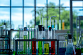 Colorful laboratory research, dropping liquid to test tubes,science laboratory research and development concept.