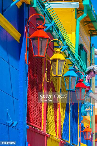 Colorful lamps and facades