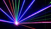 Colorful laser lights lines on black