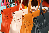 vivid fine  leather handbags collection on San Lorenzo market in  Florence, Italy, Europe