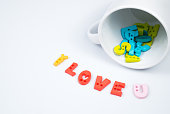 """I LOVE U"" Colorful Letters with White Coffee Cup for Valentine's day"