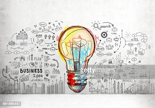 Colorful light bulb and business icons : Stock Photo