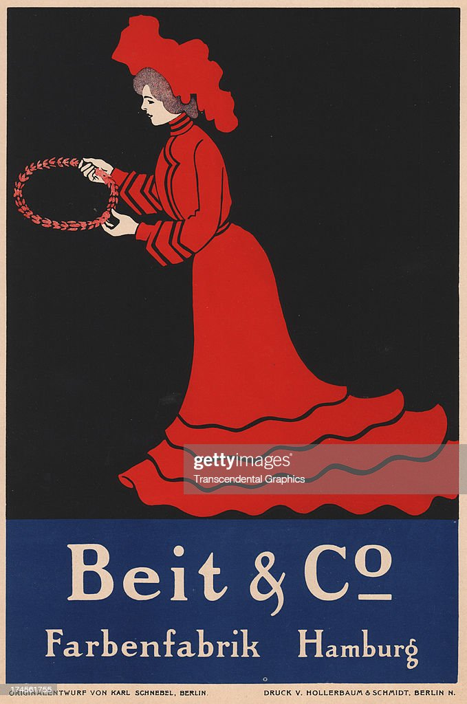 A colorful litho for a pigment manufacturer is produced around 1895 in Berlin Germany