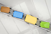 3d rendering colorful luggages on conveyor belt