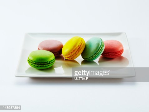 Colorful macaroons on plate : Stock Photo