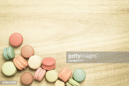 colorful macaroons on wooden background , top view : Stock Photo