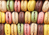 Colorful macaroons. Sweet macarons. Top view closeup