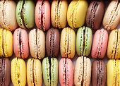 Colorful macaroons. Sweet macarons. Top view closeup