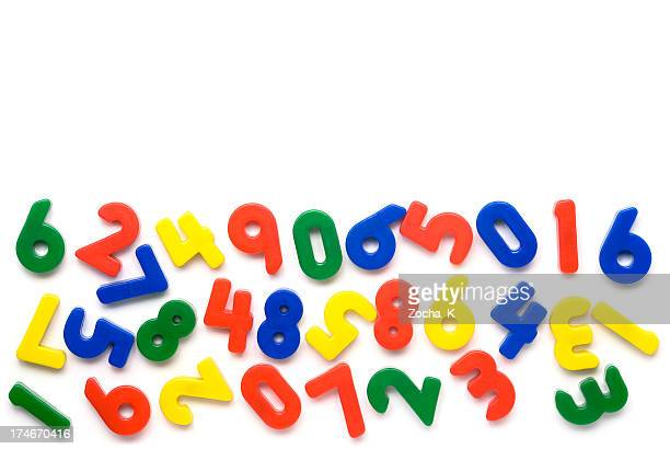 Colorful magnetic numbers on white background