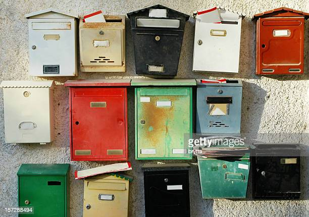 Colorful mailboxes at entrance of apartment buildings