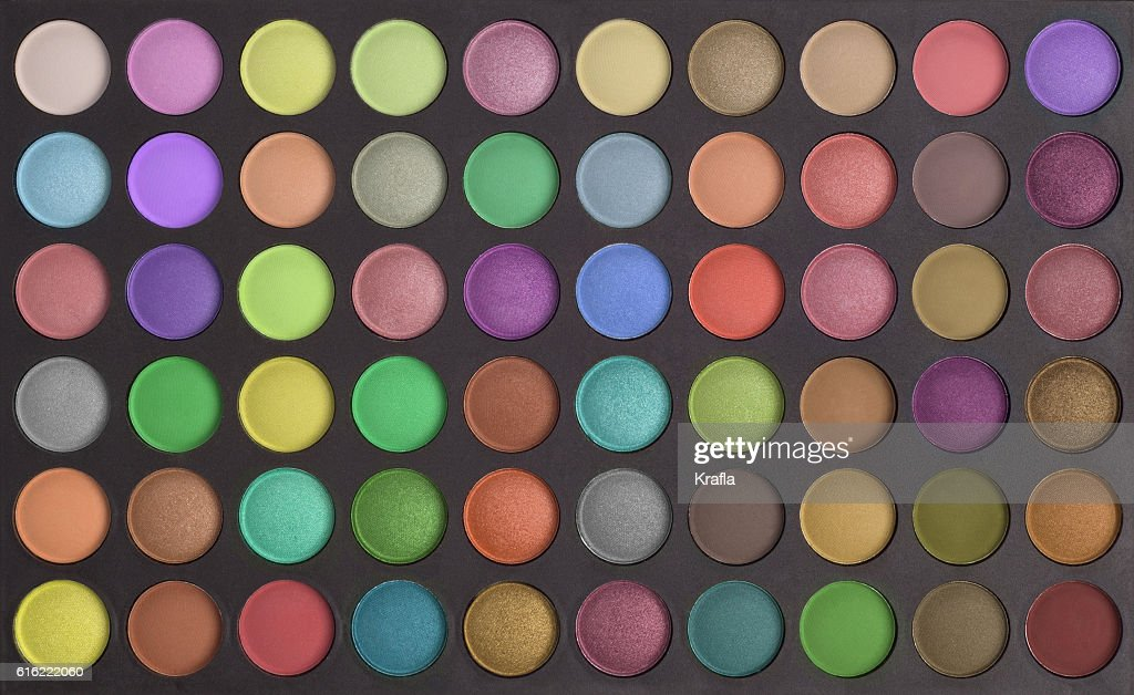 Colorful makeup eye shadows palette background : Stock Photo