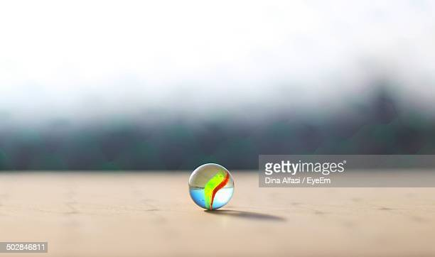 Colorful marble on table