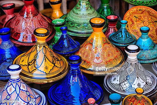 Colorful Maroccan tajine pots at souk in Marrakech