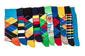 Colorful Men's Socks on white background