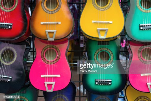 Colorful Mexican guitars