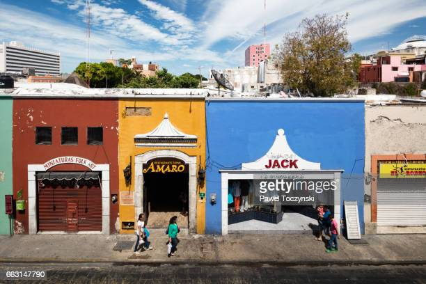 Colorful Mexican storefronts in the historical center of Merida, Mexico