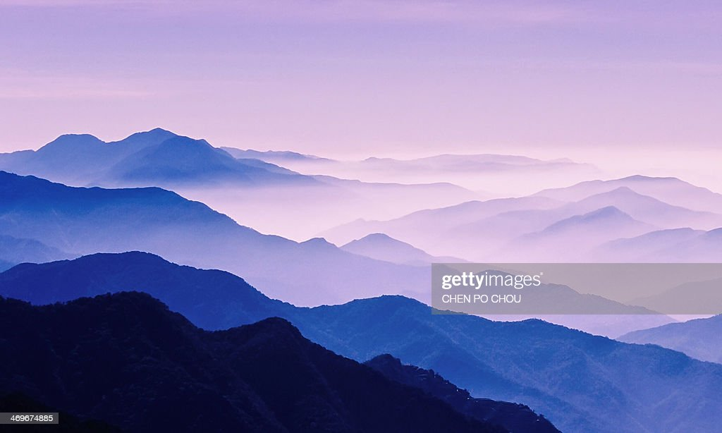 Colorful mist covering mountains